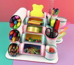 Mini organizador con rollos de papel higiénico o cocina   Manualidades
