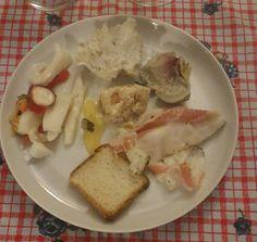 insalatadi mare,merluzzo mantecato,lardo, aspic di pollo, carciofo