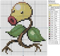 Click the image to enlarge, right click and select Save As to download the pattern. To see what it'll look like stitched, check out what other people have made below. Bellsprout by =behindthesofa on deviantART 2 of 20: Bellsprout Ornament Complete! by bobcrochets on deviantART