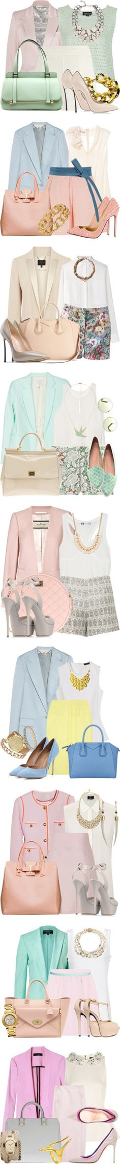 """Hleyliy's Variations on a Theme: Pastel Blazers"" by polyvore-editorial ❤ liked on Polyvore"