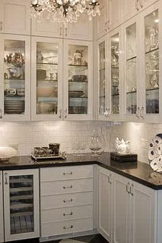 white cabinets and dark counter and floors- someday I will have a kitchen big enough for a butler's pantry that looks like this