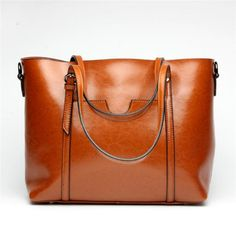 High-quality Women Oil Leather Tote Handbags Casual Front Pockets Crossbody Bags Shoulder Bags - NewChic Mobile.