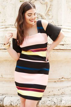 Studio Striped Cold Shoulder Dress   Havana Days Collection   Women's Plus Size Fashion   ELOQUII