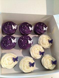 Deep purple and cream birthday cupcakes by Cupcake Passion (Kate Jewell), via Flickr