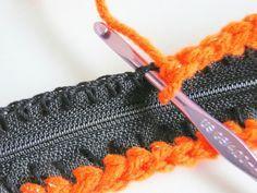 How to attach a zipper by crochet.