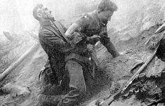 German soldier helping a wounded comrade, Flanders, 1917