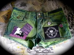 Jean Shorts DIRT punk DIY by suzykiuffshop on Etsy, $25.00
