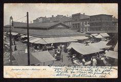 1907 LEXINGTON MARKET BALTIMORE MARYLAND ANTIQUE POSTCARD TO GLEN ROCK NEBRASKA