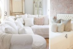 Slipcovered white couches
