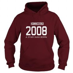 12 2008 December Star Was born T Shirt Hoodie Shirt VNeck Shirt Sweat Shirt Youth Tee for womens and Men