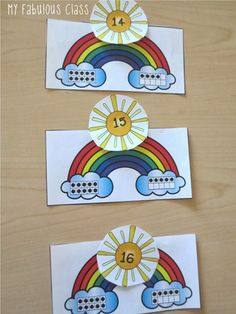 Patrick's Day themed Math Centers Common Core. Rainbows To make teen numbers… Preschool Math, Teaching Kindergarten, Math Classroom, Fun Math, Math Games, Math Activities, Numbers Kindergarten, Teen Numbers, Math Numbers