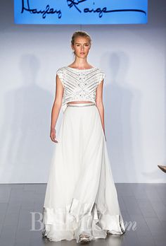 Two-piece A-line wedding dress with a beaded cap-sleeve crop top and tiered skirt, Hayley Paige 2015 Wedding Dresses, Country Wedding Dresses, Wedding Dress Styles, Wedding Gowns, Bridesmaid Dresses, Lace Wedding Dress With Sleeves, Sweetheart Wedding Dress, Dresses With Sleeves, Unconventional Wedding Dress