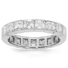 This elegant womens diamond eternity band is crafted in highly polished platinum. Emerald cut diamonds are bezel set across the frame which weighs approximately 5.1 grams. Measuring to 3/16 Inches in width, this exquisite womens diamond eternity band is an ideal gift for that special occasion. $5,160.00
