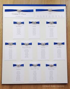 Butterfly Lace - Wedding Seating/Table Plan with lace, satin ribbon and a butterfly embellishment in Royal Blue