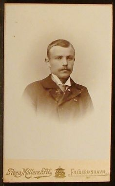 CDV Photo Man Mustache Dark Jacket by Steen Mollers Frederikshavn Denmark | eBay