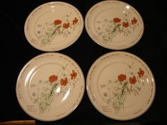 SET OF 4 NORITAKE THE COUNTRY DIARY OF AN EDWARDIAN LADY DINNER PLATES  E HOLDEN