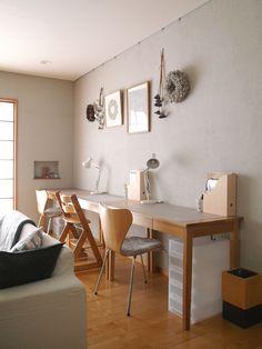 こどものリビング学習と、タブレット収納方法 : usagi works Modern Master Bedroom, Master Bedroom Design, Desk In Living Room, Living Room Decor, Kids Desk Space, Home Office Design, My Room, Room Interior, Sweet Home