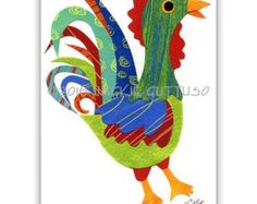 Rooster collage Original Chicken art by JackieGuttusoDesigns