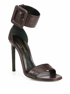 Saint Laurent <3 Jane Croc-Embossed Leather Sandals
