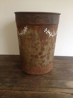 Stenciled vintage sap bucket 2 by BlueWillowAtelier on Etsy, $25.00