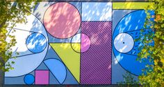 Belgian basketball court refreshed with mural based on colourful toy blocks