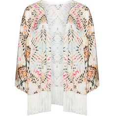 Mat Cream / Orange Plus Size Fringed printed kimono jacket $145 navabi.co.uk Beautifully bohemian, this open front Mat kimono cover-up features a gorgeous graphic print which is perfectly complemented by a statement fringed hem. Cut in luxurious satin, it feels incredibly lightweight on and will look just as chic worn over summer maxis, as it will your favourite swimsuit. Fringed, shiny satin featuring an all-over graphic print. Secant cropped sleeves. Wide, boxy cut. Hand wash.