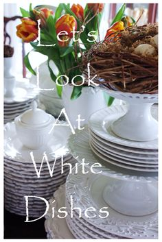 Collection of white table settings - Stone Gable White Painted Dressers, White Table Settings, China Display, Centerpieces, Table Decorations, White Dishes, Organizing Ideas, White Paints, Cupboard