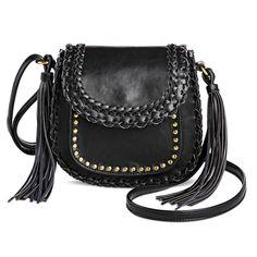 DV Women's Faux Leather Crossbody Handbag with Flap Closure - Black