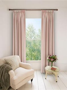 Ready Made Pencil Pleat Curtains In Portsea. 100% Cotton. Ready Made Curtains | Uk Made - Natural Curtain Company