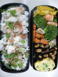 Boild broccoli and prawn   Pumpkin salad    A pickled plum green perilla mixd rice  20120628 Lunch