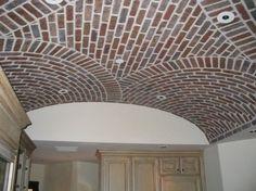 Thin Brick by General Shale - barrel vault ceiling Brick Archway, Barrel Vault Ceiling, Brick Cladding, Thin Brick, French Provincial, Interior Walls, Home Improvement, Flooring, Traditional