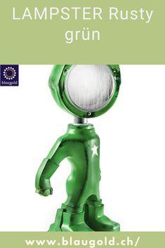Farbe=Grün Beschreibung  Die LED-Leuchte LAMPSTER ist ein Mix aus Actionfigur und Oldtimer Scheinwerfer Komplett aus recycletem Material und von Hand gebaut! Ein-/Ausschalten durch Berührung bzw. Touch-Sensor am Kopf Anpassung von Helligkeit und Farbe mittels Smartphone 360° drehbarer Kopf und verstellbarer Winkel Massiv und für die Ewigkeit gebaut; rostfrei und resistent gegen Wasserspritzer. #lampe #homedecor #design Aluminium, Material, Smartphone, Design, Auto Paint, Antique Cars, Homes, Design Comics