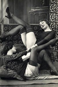 The above photo images are from original Vintage French Risque Postcards These, and other similar images, are a. Vintage Lesbian, Vintage Couples, Vintage Lingerie, Vintage Ladies, Vintage Underwear, Nylons, Vintage Stockings, Silk Stockings, Postcard Printing