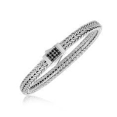 Sterling Silver Braided Black Sapphire Accented Men's Bracelet