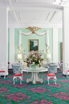 Greenbriar hotel in WV designed originally by Dorothy Draper *** OMG LOVE!!! ***