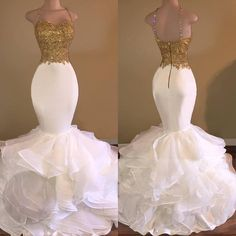 Sexy African White and Gold Prom Dresses Mermaid 2017 Spaghetti Strap Appliques Lace Ruffles Organza Backless Long Prom Dress