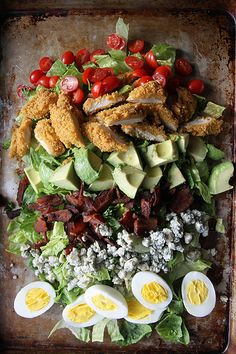 Oven Fried Chicken Cobb Salad by Creswell Creswell Creswell Creswell Christo. I absolutely love this type of salad. The fact the chicken is cooked in the oven is a bonus! Think Food, I Love Food, Good Food, Yummy Food, Tasty, Healthy Recipes, Salad Recipes, Cooking Recipes, Free Recipes