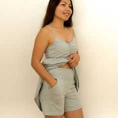Shop Nikki Lounge Shorts Marle Grey XS Cotton at BJ's PJ's. Flattering organic cotton pyjamas and loungewear with wire-free breast support. We all deserve to feel amazing every single day and night! Inspiring women to feel more confident in their PJ's, we offer the finest quality organic cotton and trims, classic designs and eco-ethically sustainably made in Australia.