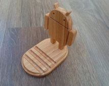 Wooden phone holder Android robot / phone stand
