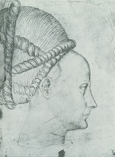 Antonio Pisanello (1395-1455) St. Georg - Kopf -  Profil der Prinzessin im Fresko der Kirche St. Anastasia