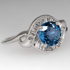 Retro Vintage Icy Blue Sapphire & Diamond Ring 14K