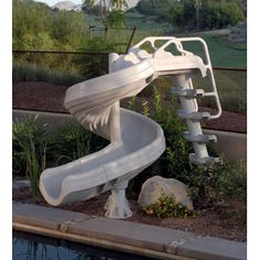 Nearly 7 ft. tall of screaming fun. Bring the water park to your backyard with the G-Force Super Pool Slide! http://www.intheswim.com/Pool-Accessories/Pool-Slides-for-In-Ground-Pools/G-Force-Super-Pool-Slide/#