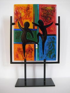 Fused glass dancing figures - Mark Lubich