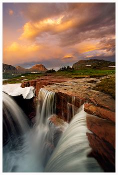 """Last Light Triple Falls by joerossbach. """"Epic conditions at Triple Falls in Glacier National Park, Montana."""""""
