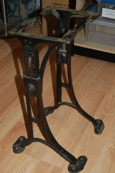 Cast Iron Legs Table Base Machine Age Industrial Steampunk Kenney Wolkin  Vintage