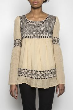 Anisa: Hand Embroidered Beaded Boho Top II Fair Trade Cotton Apparel | Raven + Lily