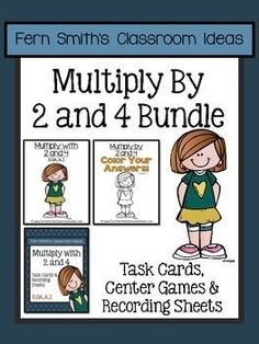 Multiply with 2 and 4 Task Cards, Recording Sheets, Center Games, Color Your Answers Printables and Answer Keys with a cute Kid and Cupcake Theme for 3.OA.A.1. #TPT $Paid