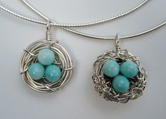 Robin's nest pendants.  ADORABLE!  Must try... I'm thinking with turquoise beads....