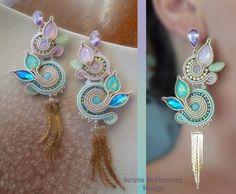 Pink Earrings, Beaded Earrings, Earrings Handmade, Beaded Jewelry, Handmade Jewelry, Jewellery, Soutache Pattern, Soutache Tutorial, Pink Jewelry