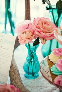 wedding decoration ideas, pink and blue